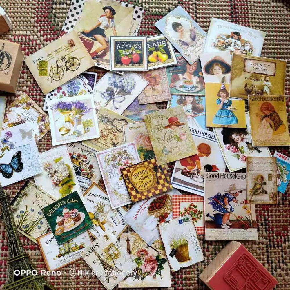 Nikier 40 Sheets Retro Beauty Vintage Rose Postmark Coffee Flower Stickers Deco Scrapbook Diary Bullet  Journal Stickers Planner