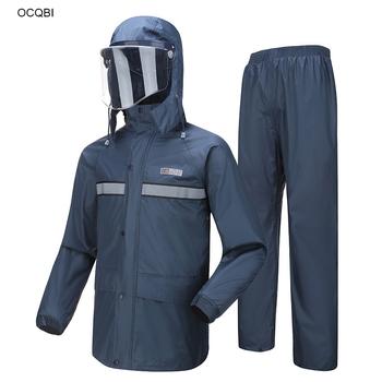 Odzież przeciwdeszczowa odblaskowe mężczyźni spodnie przeciwdeszczowe płaszcz przeciwdeszczowy zagęszczony wodoodporna piesze wycieczki motocyklowe odzież przeciwdeszczowa dla dorosłych poncho przeciwdeszczowe tanie i dobre opinie OCQBI Single-osoby przeciwdeszczowa Uniwersalny 190 t nylon fabric 9985 Obóz Motorcycle battery car raincoat Poncho raincoat