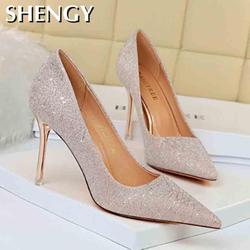 Fahsion Women's High Heels Super High 8 Cm Pointed Toe Sequined Cloth Bling Sexy High Heels Thin Party Wedding Bridal Shoes