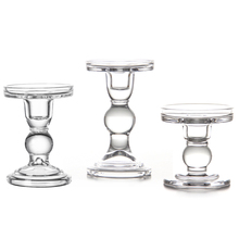 3pcs/set Vintage Home Decor Romantic Wedding Decoration Candle Holders White Tall Glass Candlesticks Crafts