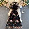 Women 2021 New Fashion Contrast Bow Round Neck Short Sleeve Slim Embroidery Flower A-line Dress Elegant Vestidos De Mujer R322 1