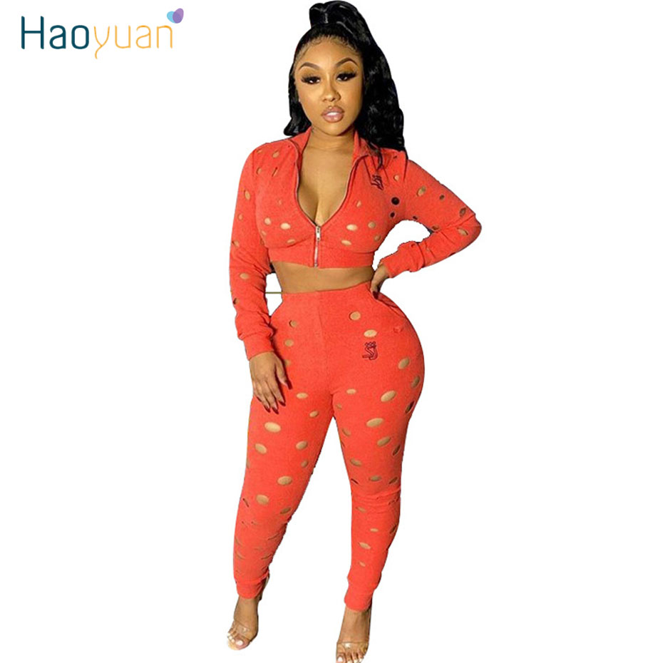 HAOYUAN Sexy Hole Two Piece Set Tracksuit Women Rave Festival Summer Clothes Crop Top Pant Sweat Suit Club Outfits Matching Sets