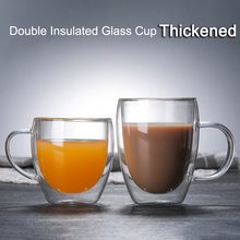 Heat Resistant Double Wall Glass Cup Beer Coffee Cups Handmade Tea Mugs Transparent Drinkware With Handle Glassware
