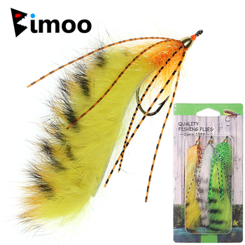 Bimoo 6pcs #1/0 Brass Conehead Zonker Fly Orange White Yellow Streamer Fly Lure Bait for Trout Bass Pike Fishing image