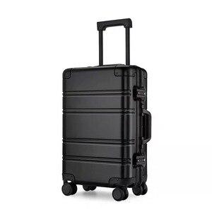 Image 4 - Alle aluminium magnesium legering trolley koffer mannen vrouwen 20/24 inch rolling bagage universele wiel boarding metal wachtwoord doos