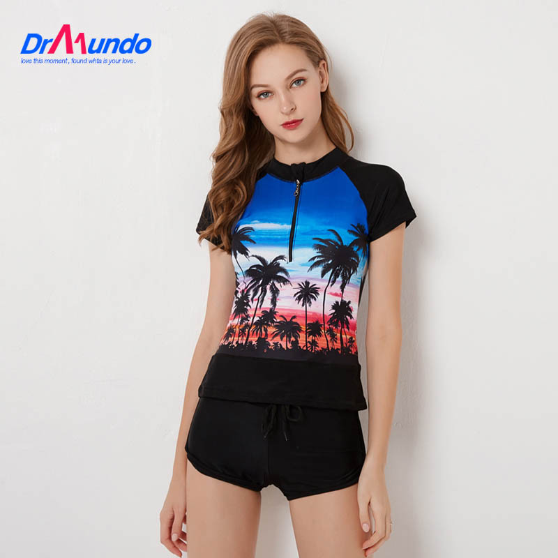 2020 Plus Size Rashguard Women Zipper Swimwear Palm Print Surf Wear Two Piece Shorts Panty Diving Shirt Short Sleeve Swimsuit 1