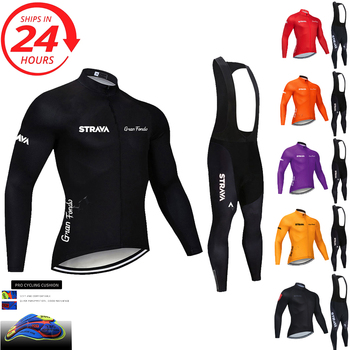 2020 STRAVA long sleeve cycling clothing set bib pants ropa ciclismo bicycle MTB bike jersey Men's clothes - discount item  38% OFF Cycling