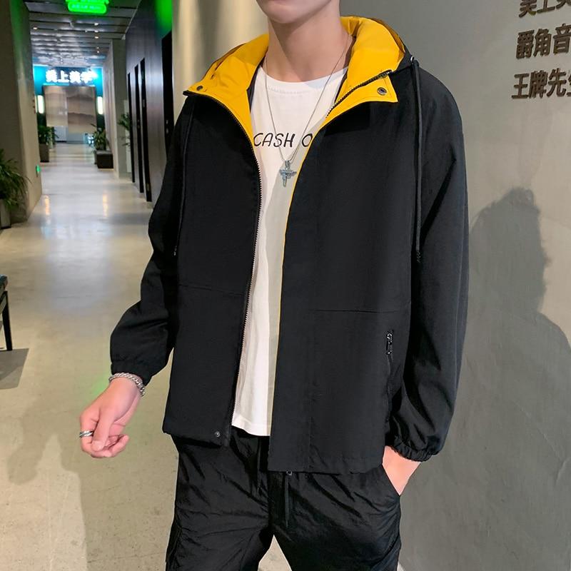 Men's Beige Jacket Solid Contrast Color Hooded Windbreaker Jackets Zipper Tour Coat 2020 Spring Autumn Outerwear Veste Homme