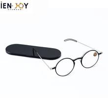 IENJOY Reading Glasses Blue Light Blocking Glasses TR90 Computer Readers Women Men Round Black Frames Pocket Presbyopia Reader