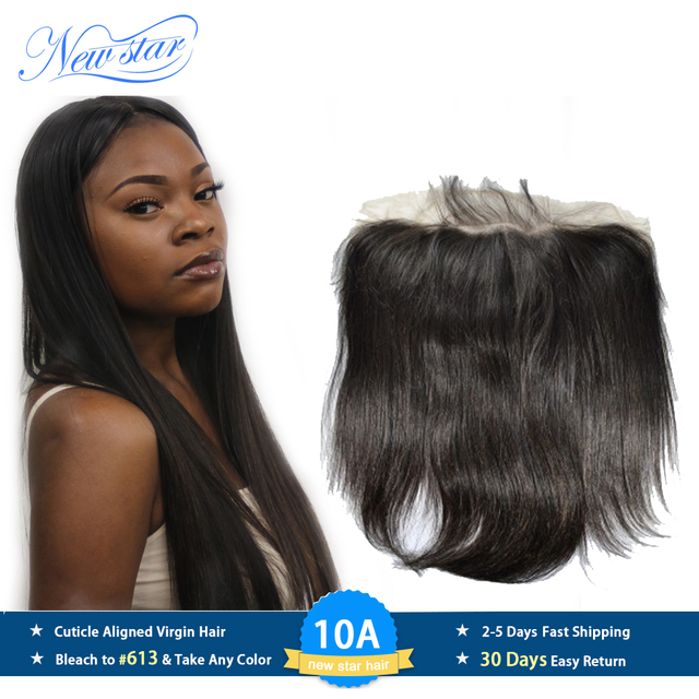 New Star Brazilian Straight Virgin Hair 13x6 Lace Frontal Closures 100% Human Hair Pre Plucked Hairline With Baby Hair Closure