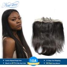 Yeni yıldız brezilyalı düz bakire saç 13x6 dantel Frontal kapatma % 100% insan saçı önceden koparıp Hairline ile bebek saç kapatma