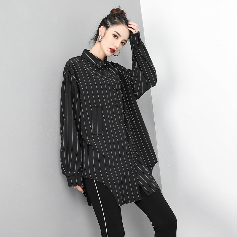 [EAM] Women White Striped Asymmetrical Big Size Blouse New Lapel Long Sleeve Loose Fit Shirt Fashion Spring Autumn 2020 1U080