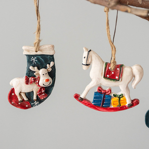 Horse Christmas Socks Elk Tree Decoration Pendants Hanging Ornaments Crafts Gifts Xmas New Year Party Wedding Home Decor 63199