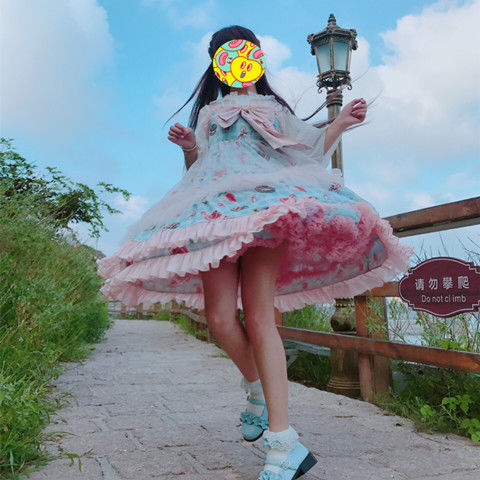 Rainbow Lolita Underskirt Dress Women Bridal Chiffon Lolita Short Petticoat Tutu Skirt Floral Lace Trim Princess Bustle Wedding