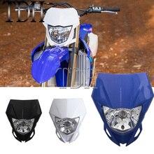 Enduro supermoto luz dianteira do farol da bicicleta sujeira motocross cabeça luz para yamaha wr250f wr450f wr250r yz450f kawasaki klx kx