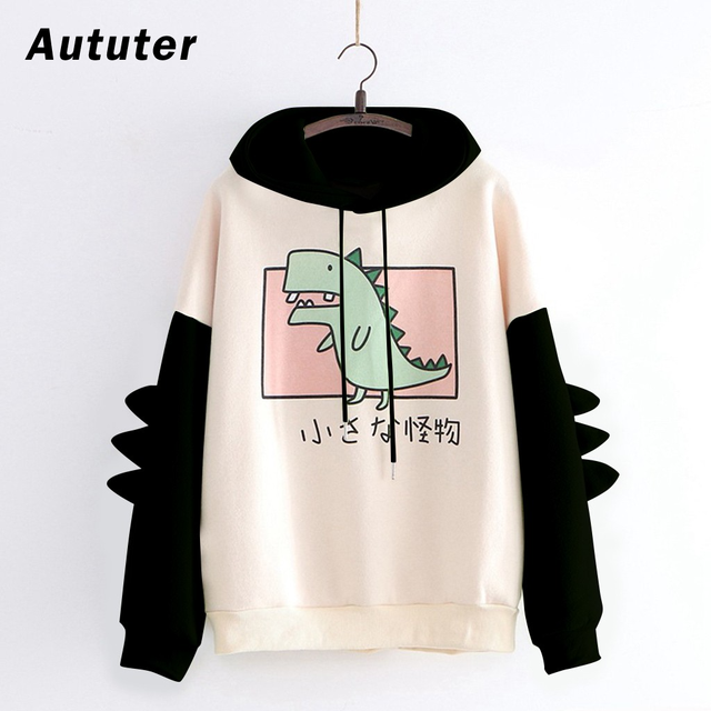 Fashion Women Sweatshirt Casual Print Long Sleeve Splice Dinosaur hoodies Sweatshirt Tops ropa mujer толстовка женская 1