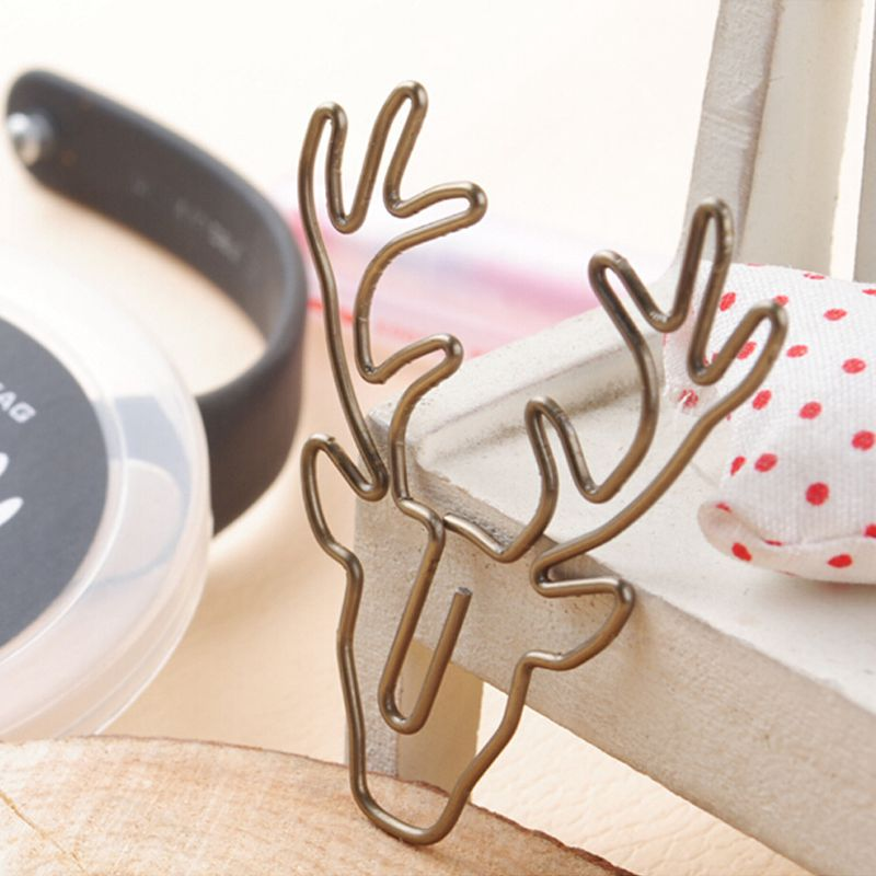 8pcs/box Paper Clips Retro Metal Book Clip Mark Antlers Cute Paper Clips For Office Stationary Clips Reading Decoration