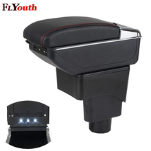 Armlehne Box Für Ford Ecosport 2013-2017 USB Lade LED Licht Auto Arm Rest Drehbare Center Console Storage Box auto Styling