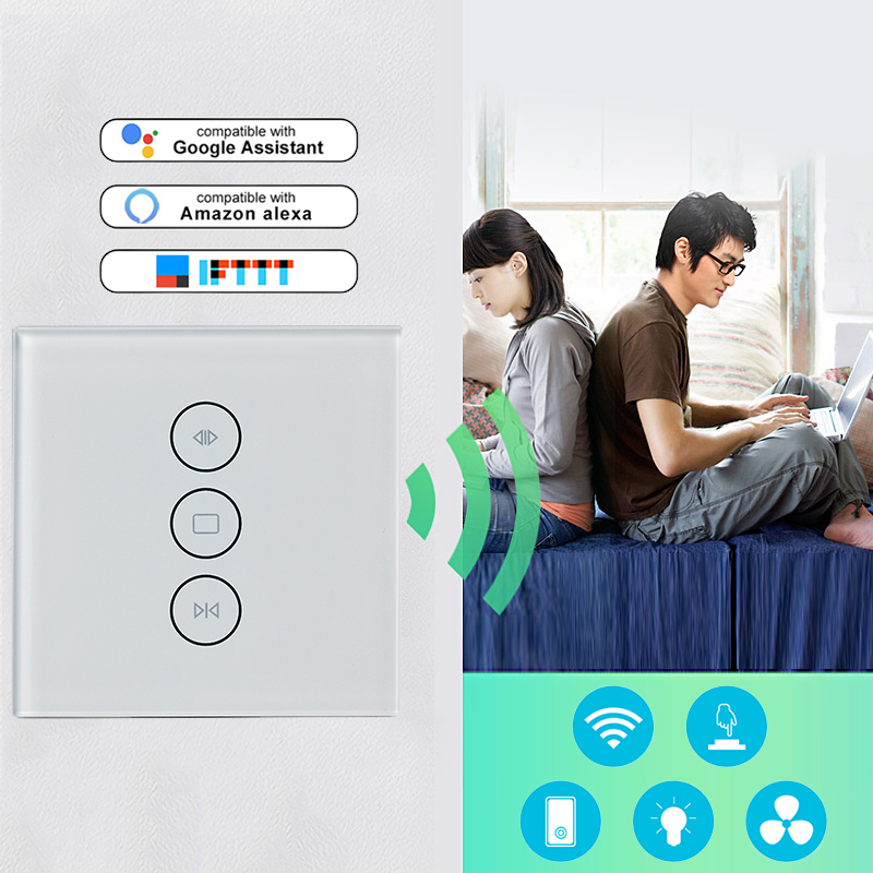 Smart Home Wifi Touch Curtain Switch EU US Wall Switch Voice Control By Alexa /Google Phone Control For Electric Curtain Motor