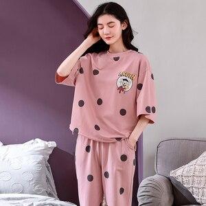 Image 4 - 4XL młoda dziewczyna bielizna nocna zestawy luźne ubrania wiosna cienka krótki rękaw kobiety piżamy Dot drukowanie piżamy urocza odzież domowa