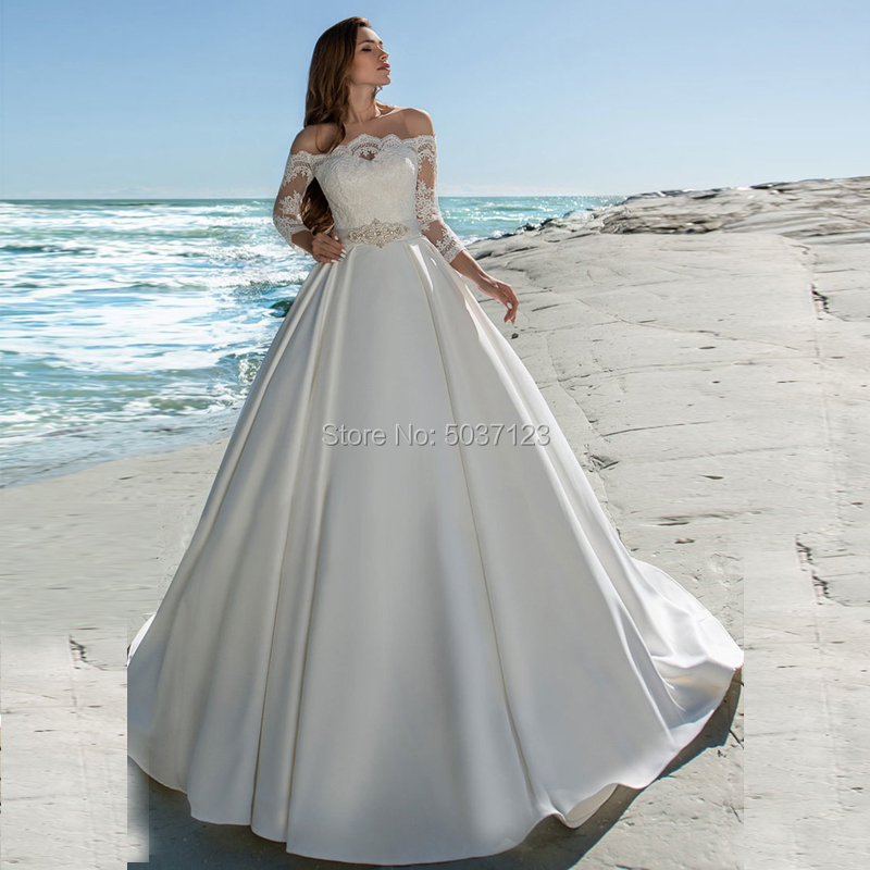 Satin Ball Gown Off The Shoulder Wedding Dresses Lace Appliques Long Sleeves Button Illusion Bridal Gown Vestido De Noiva