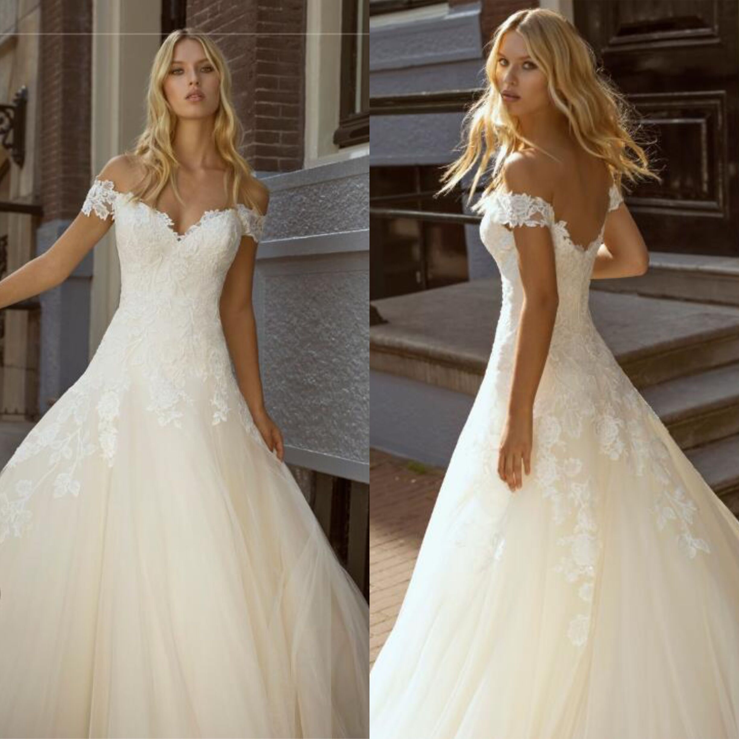 Chamgne Wedding Dress A-Line Cap Sleeve With Appliques Custom Made Bridal Gowns  Robe De Mariage
