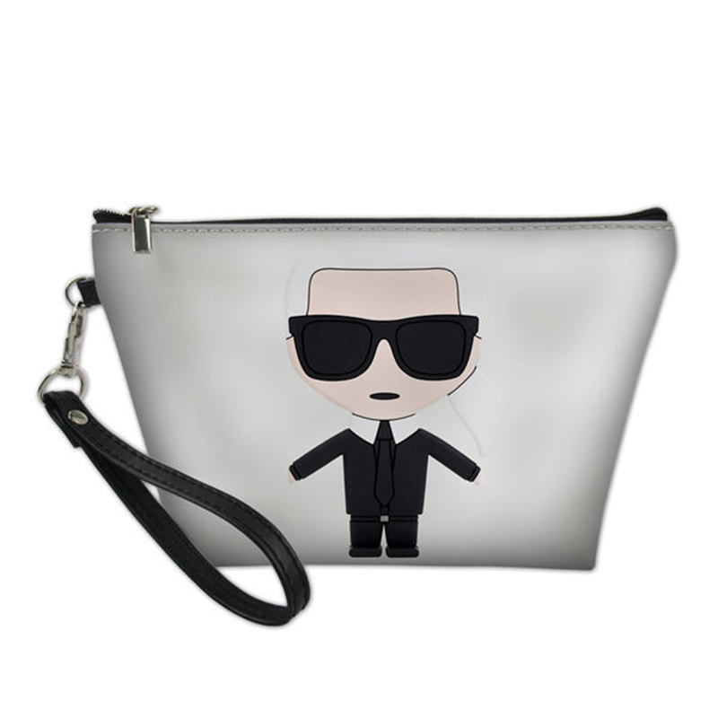 HaoYun Fashion Women's PU Leather Cosmetics Bags Karl Lagerfelds Prints Pattern Travel Make Up Bags Girls Toiletry Pouch Kits