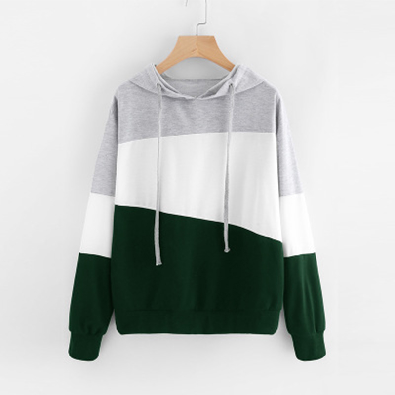 Fashion Women Long Sleeve Hoodie Autumn Winter Drawstring Hooded Sweatshirts Casual Patchwork Sweatshirt Pullovers in Hoodies amp Sweatshirts from Women 39 s Clothing