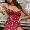 Glamaker Floral print sexy bodycon high split dress Women 2020 new sleeveless short dress Party club elegant backless vestidos 2