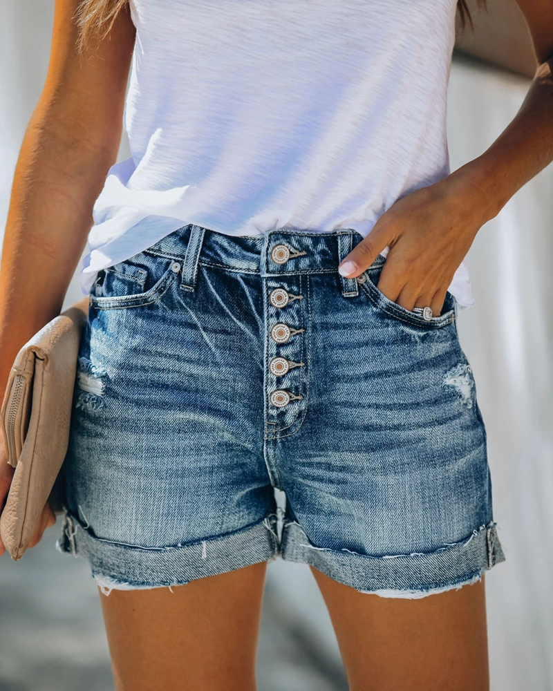 High Waist Crimping Women Short Jeans Summer Fashion Sexy Ripped Denim Shorts New Casual Push Up Vintage Denim Shorts Streetwear