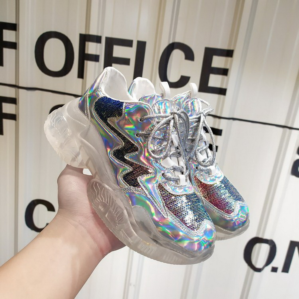 ADISPUTENT New Women Sneakers Crystal Heel Platform Sneakers Bling Fluorescent Holographic Dad Chunky Trainers Vulcanize Shoes
