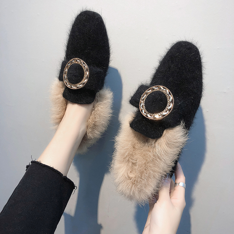 All-Match Shoes Woman 2019 Dress Flats Women Shallow Mouth Loafers Fur Modis Women's Moccasins Round Toe Casual Female Sneakers 36