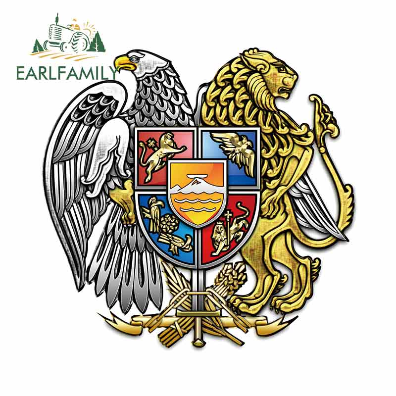 EARLFAMILY 13cm X 12.4cm For Armenia Coat Of Arms Windshield Car Stickers Waterproof Decal Occlusion Scratch Vinyl Material