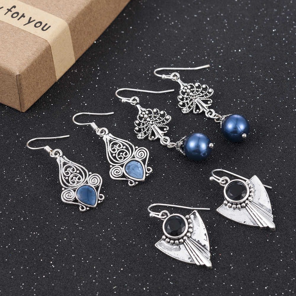 Vintage Silver Stone Ear Hook Dangle Drop Earrings Women Jewelry Bridal Party Autumn Wedding Jewelry Ornaments Accessories
