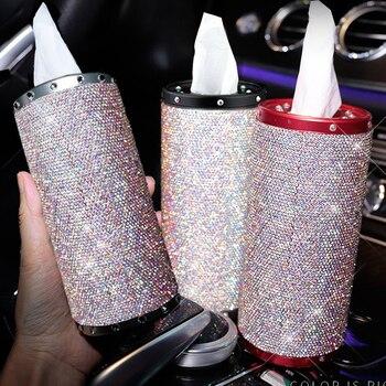 Bling Black Car Tissue Box Cover Cup Holder для домашнего автомобильного офисного декора универсальный тип