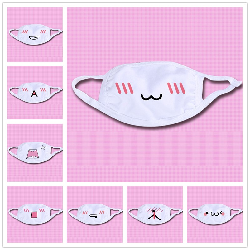 Cartoon Kaomoji Masks Men Women Kawaii Anime White Black Anti-Dust Face Cotton Mask Adult Children Emotiction Mouth-muffle