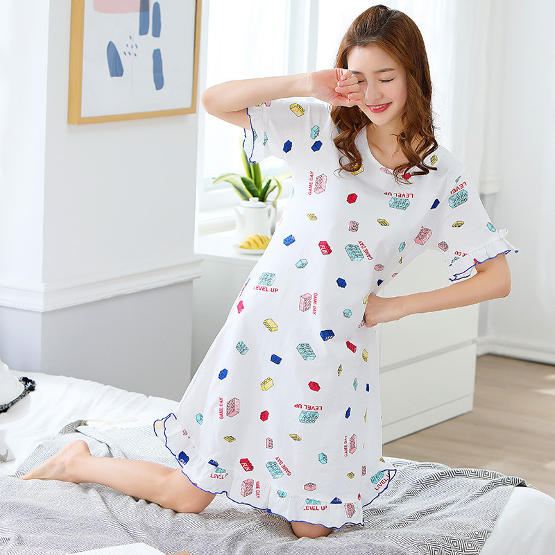 According To Feminine New Style LYCRA Pure Cotton Long Skirts Short Sleeve Nightgown Original (Price Control One-Piece 38 Two Pi