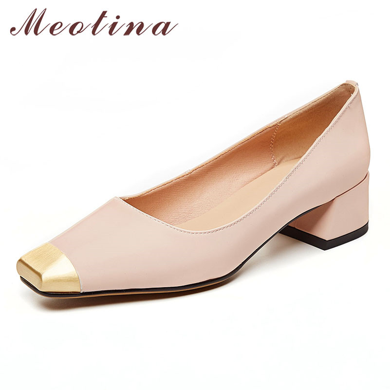 Meotina High Heels Women Pumps Natural Genuine Leather Thick Heels Shoes Real Leather Square Toe Shoes Lady Spring Big Size 3-10
