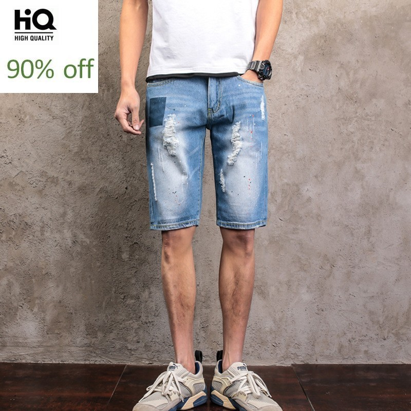 Summer 2020 New Fashion Mens Denim Shorts Hole Ripped Paint Jeans For Male Straight Slim Fit Knee-Length Calca Masculina
