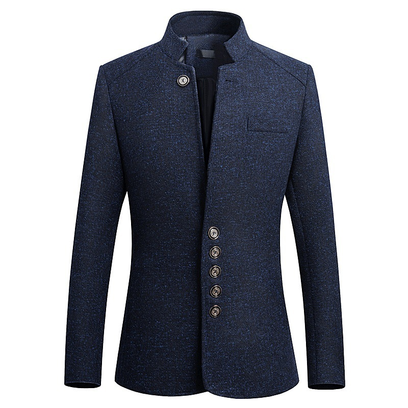 2019 Mens Vintage Blazer Coats Chinese Style Stand Collar  Business Blazers Casual Jackets Male Slim Fit Suit Jacket