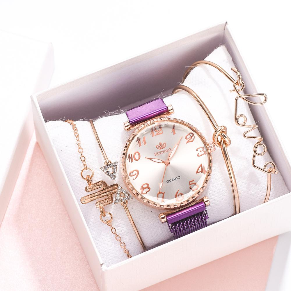 5pcs Set Luxury Watch Women Arabic Numerals Magnet Buckle Ladies Wrist Watch Simple Dress Bracelet Watch Set Montre Femme Gifts