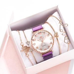 5pcs Set Luxury Watch Women Arabic Numerals Magnet Buckle Ladies Wrist Watch Simple Dress Bracelet Watch Set Montre Femme Gifts