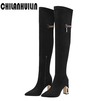 women knee high boots sexy pointed toe cut out metal high heel long boots sexy stiletto pumps black bootie woman OL dress shoes
