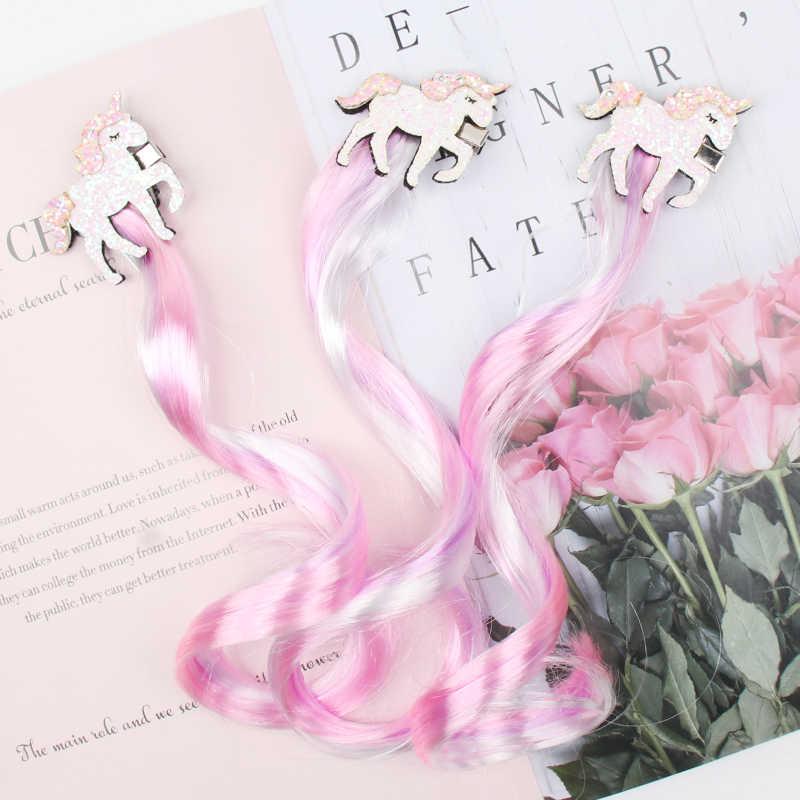 3 unids/lote niños coletas pinza de pelo para niñas brillo brillante unicornio/estrella/pasador en forma de lazo para el cabello coloridos accesorios para el cabello peluca