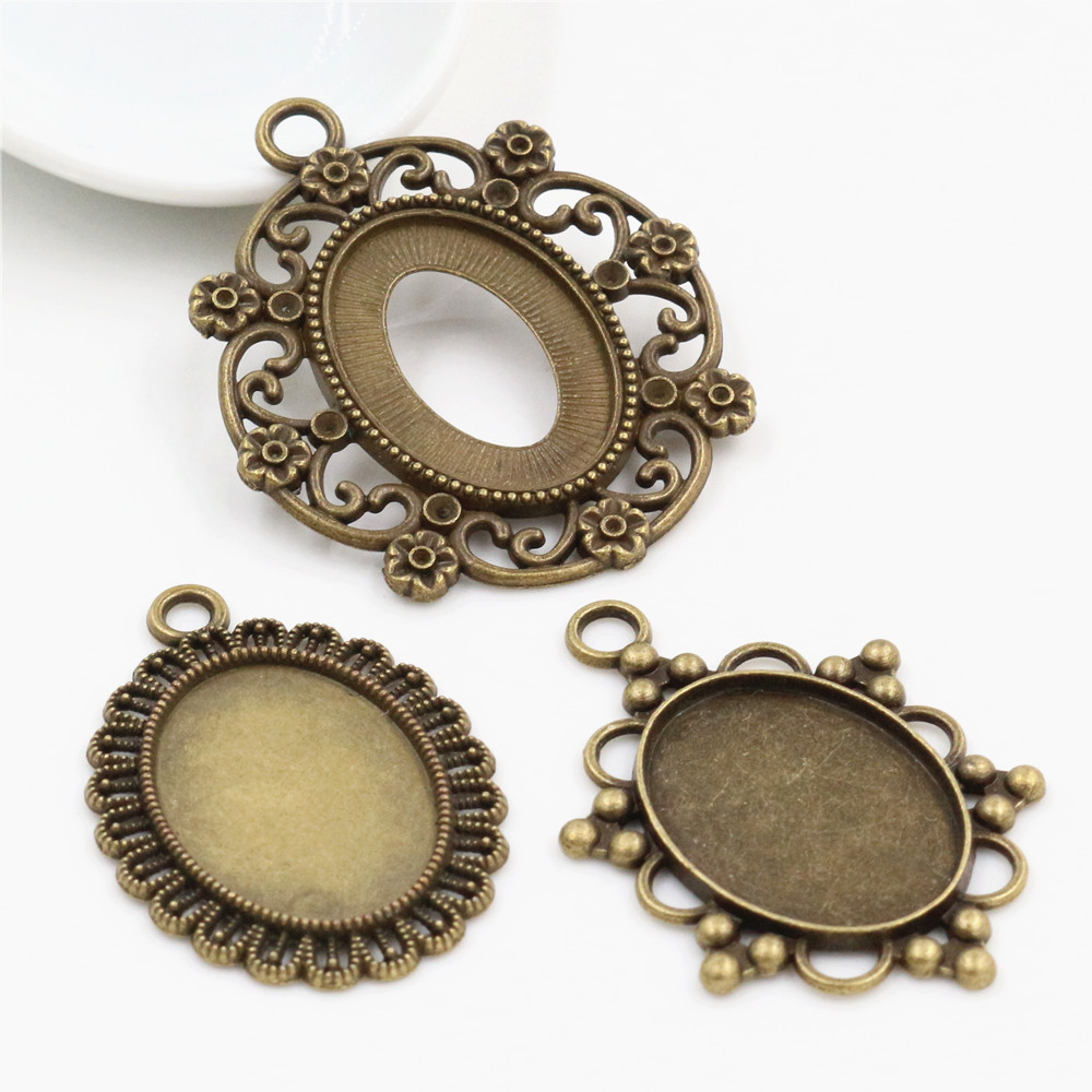 4pcs 18x25mm Inner Size 3 Style Antique Bronze Simple Style Cameo Cabochon Base Setting Charms Pendant Necklace Findings