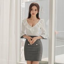 Sexy Fall Clothes for Women Autumn Dress 2019 Deep V-neck Patchwork Mini Dress Club Wear Ladies Package HIp Wrap Dress Plus Size