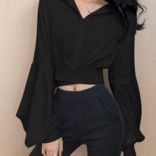 2021 весенние пикантные y2k рубашки женское платье с v образным