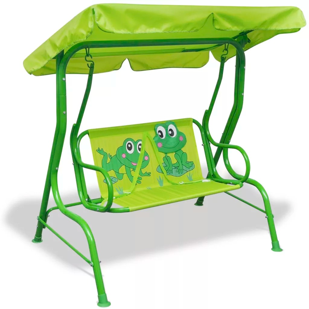 VidaXL Kids Swing Seat Green 115 X 75 X 110 Cm 100% Polyester Swing Seat With Sunshade Canopy Perfect For Children Outdoor Chair