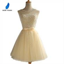 DEERVEADO коктейльные платья с аппликацией из кристаллов Короткие платья для выпускного вечера Коктейльные Вечерние платья платье для коктейлей CH601