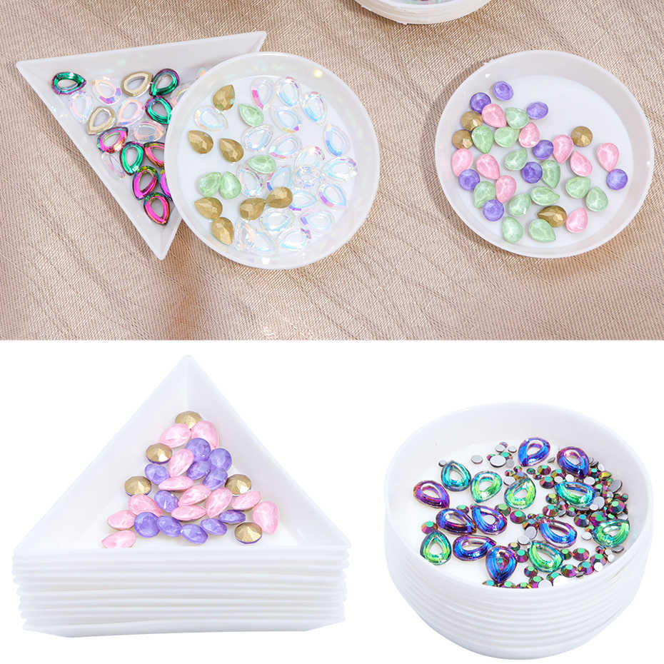 5 Pcs Witte Driehoek Ronde Opslag Container Strass Nail Art Display Box Acryl Nail Supplies Manicure Decoratie Tool LEA11